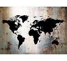 World Map Rusted Metal  Photographic Print