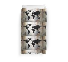 World Map Rusted Metal  Duvet Cover