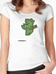 Ukulele-playing, flying cactus cherub takes to the skies Women's Fitted Scoop T-Shirt