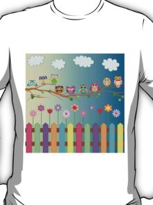 Cute Little Owls on a Branch T-Shirt