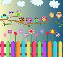 Cute Little Owls on a Branch by kennasato