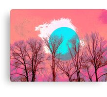 White blue Moon tree Canvas Print