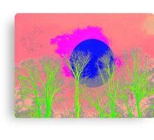 Blue Pink Moon Tree Canvas Print