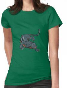 Black Panther Crouching Cartoon Womens Fitted T-Shirt