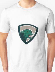 Black Panther Head Growling Shield Cartoon T-Shirt