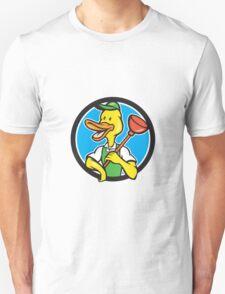 Duck Plumber Holding Plunger Circle Cartoon T-Shirt