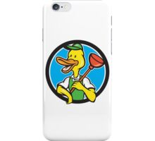 Duck Plumber Holding Plunger Circle Cartoon iPhone Case/Skin