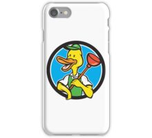 Duck Plumber Holding Plunger Circle Cartoon iPhone Case/Skin