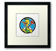 Duck Plumber Holding Plunger Circle Cartoon Framed Print