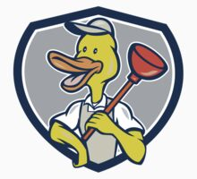 Duck Plumber Holding Plunger Shield Cartoon by patrimonio