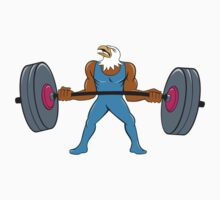 Bald Eagle Weightlifter Lifting Barbell Cartoon by patrimonio