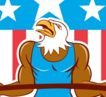Bald Eagle Weightlifter Barbell USA Flag Sticker