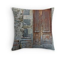 Door and Barrels Throw Pillow