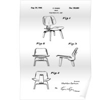 Iconic Eames LCW Molded Plywood Chair Patent Drawings Poster