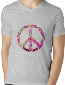 Psychedelic Peace Sign Mens V-Neck T-Shirt