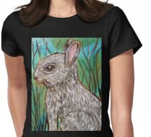 Rabbit in the Grass Womens Fitted T-Shirt