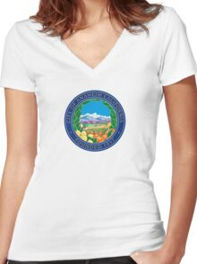 Seal of Anaheim  Women's Fitted V-Neck T-Shirt