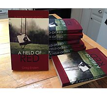 A Field of Red - stack of books Photographic Print