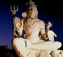 Shiva Statue Under The Moon, Kailasagiri, Visakhapatnam, India by Robert La Bua