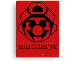Mariobots! (Outline on red) Canvas Print