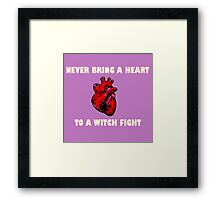 Witch Fight Heart in White Framed Print