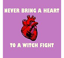 Witch Fight Heart in White Photographic Print