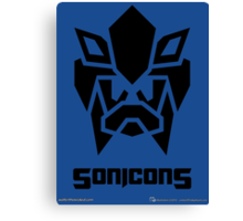 Sonicons! (Black on Blue) Canvas Print