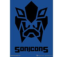 Sonicons! (Black on Blue) Photographic Print