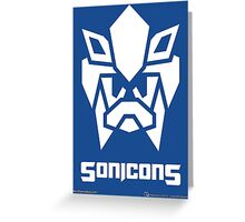Sonicons! (White on Blue) Greeting Card