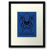 Sonicons! (Black Outline on Blue) Framed Print