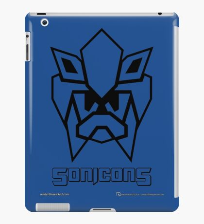 Sonicons! (Black Outline on Blue) iPad Case/Skin