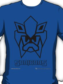 Sonicons! (Black Outline on Blue) T-Shirt