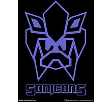 Sonicons! (Blue Outline on Black) Photographic Print