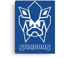 Sonicons! (White Outline on Blue) Canvas Print