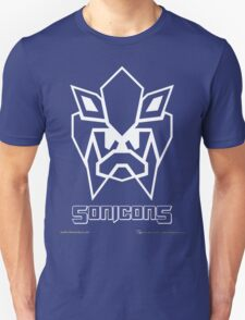 Sonicons! (White Outline on Blue) T-Shirt