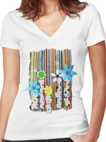 Cut n Paste Flowers Women's Fitted V-Neck T-Shirt