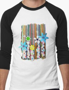 Cut n Paste Flowers Men's Baseball ¾ T-Shirt