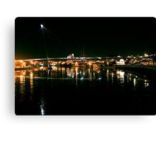 Stockton Riverside at Night. Canvas Print