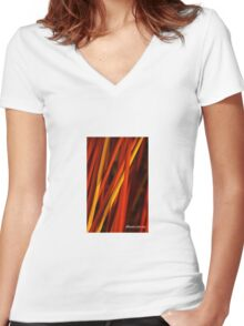 Red Centre Women's Fitted V-Neck T-Shirt