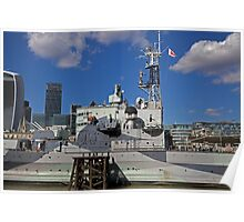 HMS Belfast on the River Thames Poster