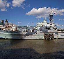 HMS Belfast on the River Thames by Keith Larby