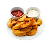 Chips with Mayonnaise and Tomato Dips by MarkUK97