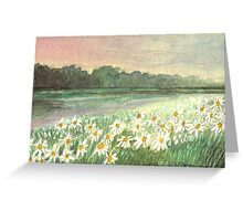 SUNSET OVER DAISY-MEADOW - A Dream of Peace may fill your Heart Greeting Card