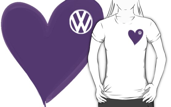 VW Dark Purple Heart t-shirt by melodyart