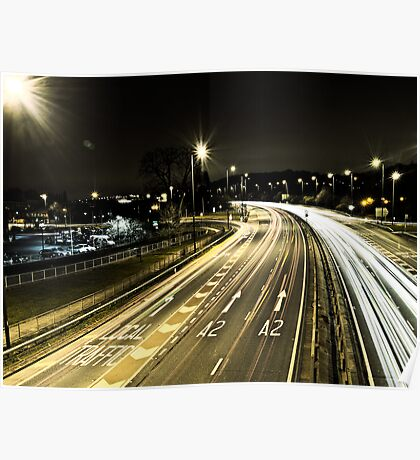 A2 at Night in Bexley Poster