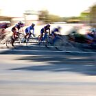 Women cyclists Racing into the Turn by Buckwhite