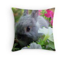 Blossoming Bunny Rabbit Throw Pillow