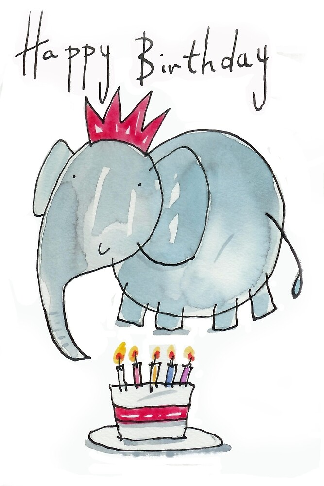 Quot Happy Birthday Elephant Quot By Andylanhamart Redbubble