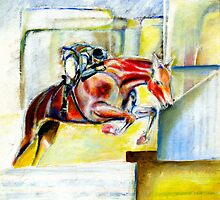 The equestrian- painting of horse and rider by Tom Conway