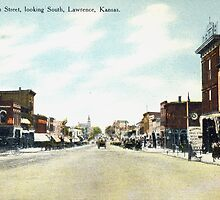1908 Lawrence, KS, Mass Street looking South delightful image from antique postcard. by Steve Sutton